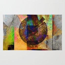 Abstract Geometric Industrial Grunge Art Rug