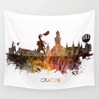 poland Wall Tapestries featuring Cracow Poland by jbjart