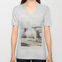 Illustration of a white horse running from Sporting Sketches (1817-1818) by Henry Alken (1784-1851) Unisex V-Neck