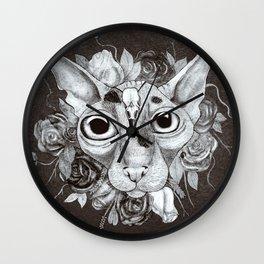 Kitty's Pretty Floral Mane Wall Clock
