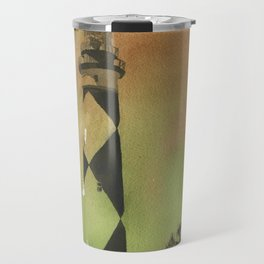 Cape Lookout lighthouse on the Outer Banks, North Carolina.  Watercolor painting of Cape Lookout lighthouse beach artwork home decor lighthouse NC lighthouse painting watercolor Travel Mug