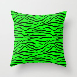 Bright Neon Green and Black Tiger Stripes Throw Pillow