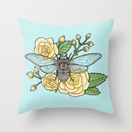 Cicada with Roses - Blue Throw Pillow