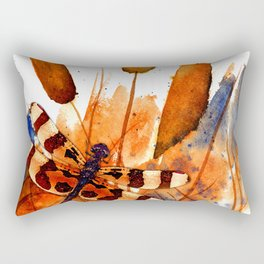 Banded Dragonfly and Cattails Rectangular Pillow