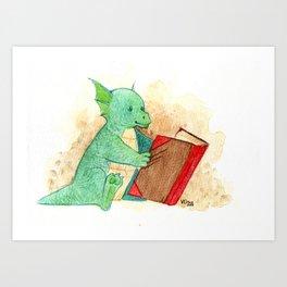 Reading baby dragon Art Print