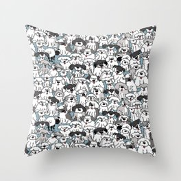 Aqua Dogs Throw Pillow