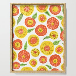 orange and yellow simple floral pattern Serving Tray