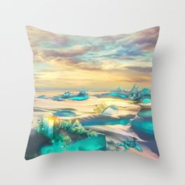 Crystal snow desert Throw Pillow
