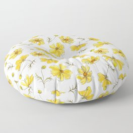 Yellow Cosmos Flowers Floor Pillow