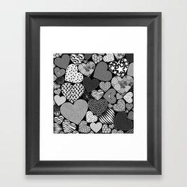 Love Hearts Doodle Art Pattern Framed Art Print