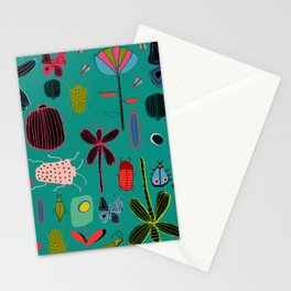 bugs and insects green Stationery Cards