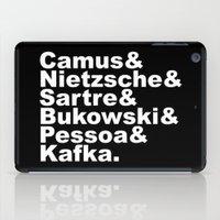 kafka iPad Cases featuring Camus& Nietzsche& Sartre& Bukowski& Pessoa& Kafka. White on Black by Andrew Gony
