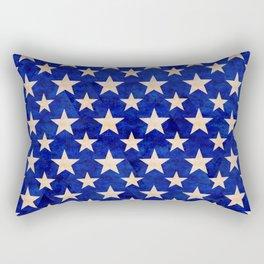 Gold stars on a dark blue background. Rectangular Pillow