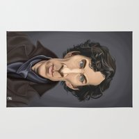 actor Area & Throw Rugs featuring Celebrity Sunday ~ Benedict Cumberbatch by rob art | illustration