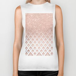 Faux rose gold glitter ombre rose gold foil triangles chevron geometric on white marble Biker Tank