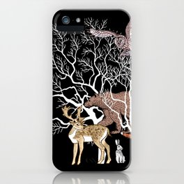 Print with forest animals and tree. iPhone Case