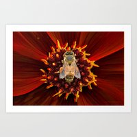 RED FLOWER WITH BEE Art Print