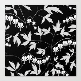 White black floral pattern Canvas Print