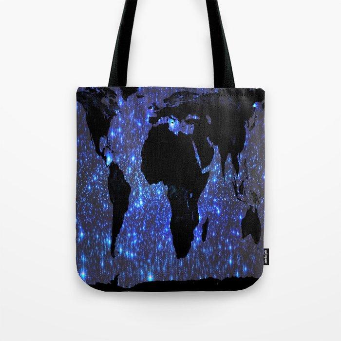World Map : Blue Galaxy Stars Tote Bag