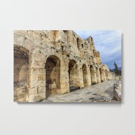 wall of ancient theater of Herodes Atticus Odeon, Athens, Greece Metal Print