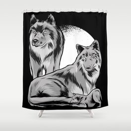 Animal Art Wolf Family With Moon Monochrome Shower Curtain
