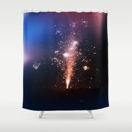 Red, White, and Blue Fireworks Shower Curtain