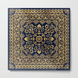 Oriental Damask Ornament - Gold on dark blue #1 Metal Print