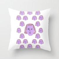 sylvia plath Throw Pillows featuring Sylvia by justesmwhr