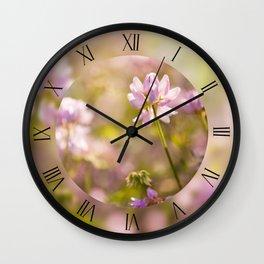Wild pink Clovers macro Wall Clock