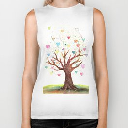 Heart Tree Watercolor Illustration Biker Tank