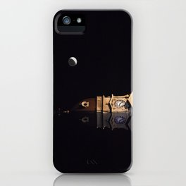 Crescent moon and earth shine at city hall clock tower iPhone Case