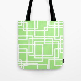 Retro Modern Rectangles On Pastel Green Tote Bag