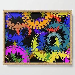 Texture of bright blue and orange gears and laurel wreaths in kaleidoscope style on a black backgrou Serving Tray