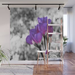 Fuchsia Violet Flowers Pop Of Color Wall Mural