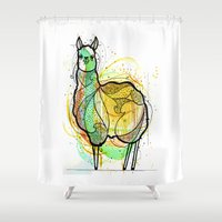 llama Shower Curtains featuring Llama by Nemki
