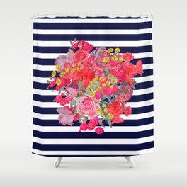 Vintage Floral Burst Print with Navy Stripes Shower Curtain