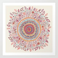 flower Art Prints featuring Sunflower Mandala by Janet Broxon