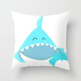 Brother shark, Violet shark, Baby shark, Funny shark, Shark logo, Blue Shark vector, Shark svg Throw Pillow