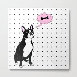French Bulldog and Polka Dots Metal Print