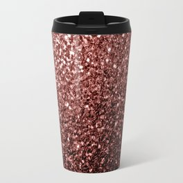 Beautiful Glam Marsala Brown-Red Glitter sparkles Travel Mug
