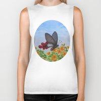 butterfly Biker Tanks featuring Butterfly by Amy Fan