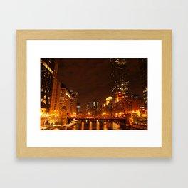 Chicago Lit Up at Night Framed Art Print