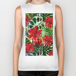 Exotic Passiflora Flowers Jungle Aloha Pattern Biker Tank