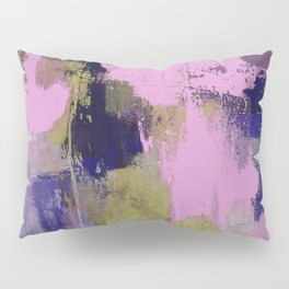 Wild Lilac - Abstract, textured, lilac, purple, blue and yellow oil painted artwork Pillow Sham