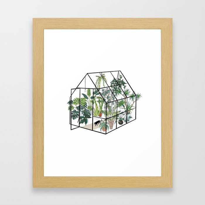 greenhouse with plants Gerahmter Kunstdruck
