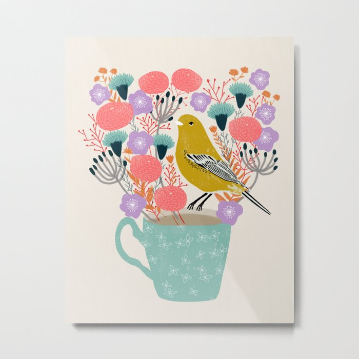 Bird and Flowers - Warbler by Andrea Lauren Metal Print