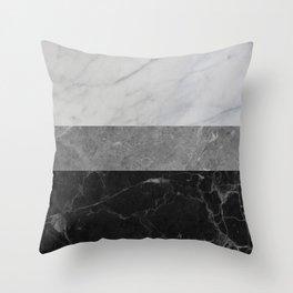 Marble - White, Grey, Black Throw Pillow