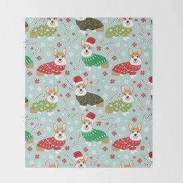 Corgi sweater christmas ugly sweaters dog breed welsh corgis holiday Throw Blanket