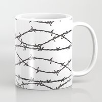 the wire Mugs featuring Barbed Wire by Elena O'Neill
