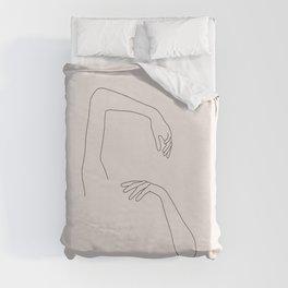Hands line drawing illustration - Orla I Duvet Cover